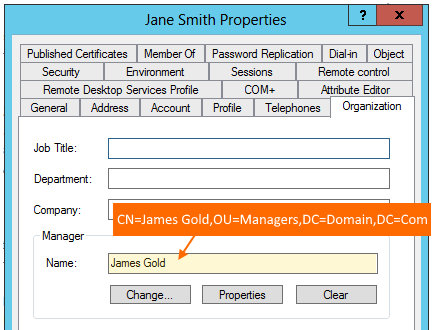 Setting the manager attribute for users in Active Directory