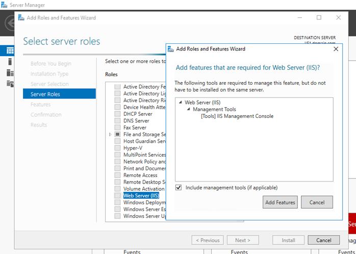 Installing web applications on Windows Server 2016